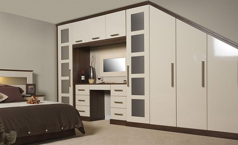 cream wardrobe and bedroom