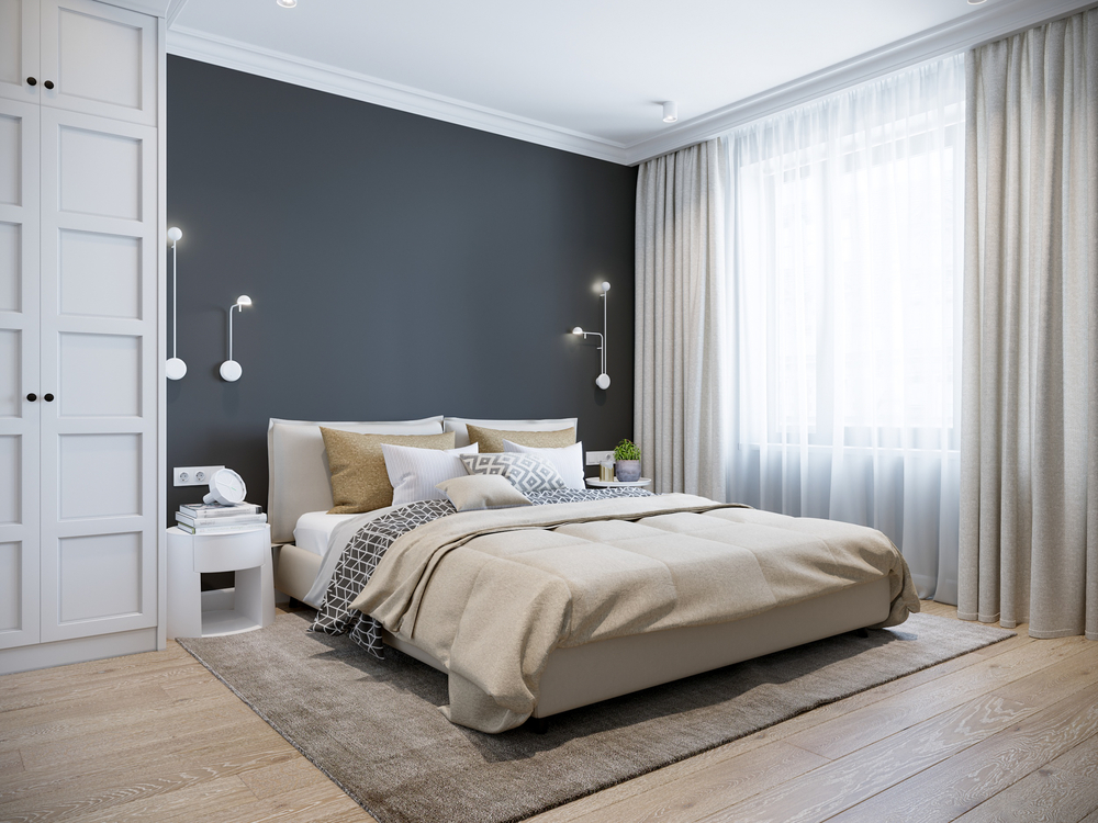 modern spacious bedroom with dark wall